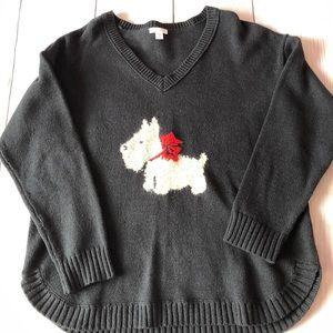 J Jill long sleeve navy blue Scottie dog sweater
